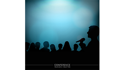 Conference poster silhouette figures vector material