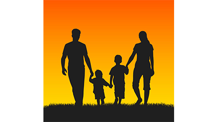 Family of four sunset silhouette Vector