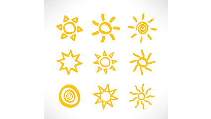 9 hand-painted sun icon vector material