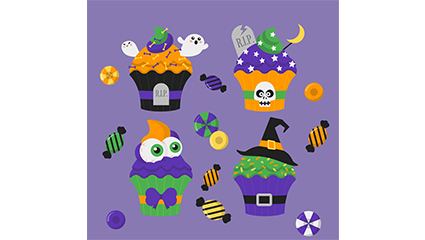 4 Vector cartoon Halloween cupcakes