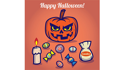 9 cartoon Halloween element vector material