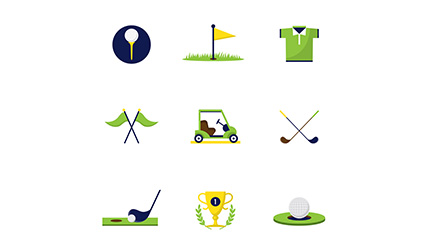 9 Creative golf icon vector material