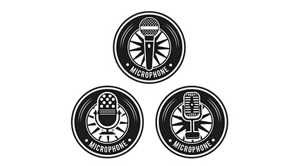 3 black microphone label vector material