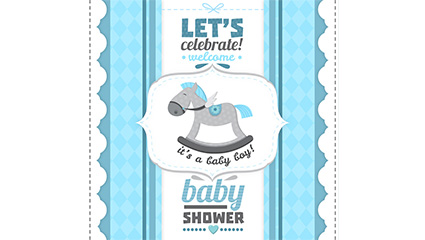 Blue horse infant welcome party poster vector