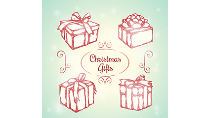 4 Hand-painted Christmas gift vector material