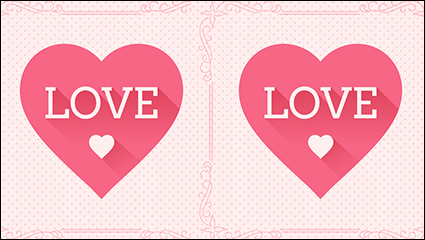Delicate pink love greeting cards vector material