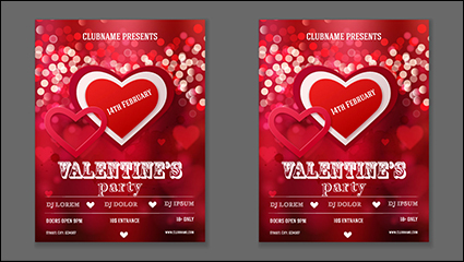 Beautiful red love party poster vector material
