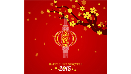 2015 Red lanterns and flowers greeting cards vector material