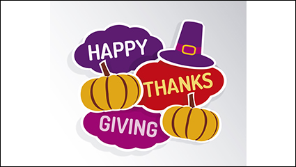 Thanksgiving pumpkin greeting card vector material