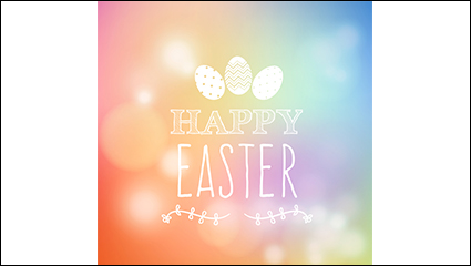 Colorful Easter poster vector material