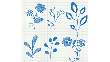 Link to6 blue painted plant vector material