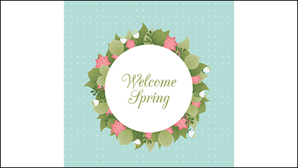 Welcome Spring flowers ring vector material