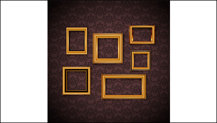 Gorgeous wallpaper gold frame vector material