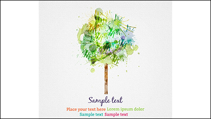 Link toWatercolor trees design vector material