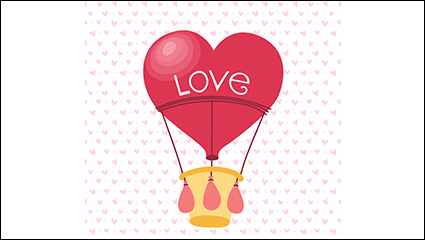 Love red hot air balloon vector material