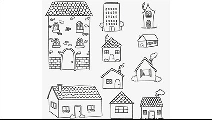 10 models of houses painted vector material