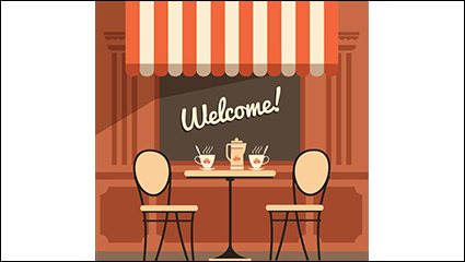 Creative outdoor cafe illustrator vector material