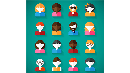 16 of the flat character design vector