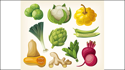Link to10 design models cartoon vegetables vectors