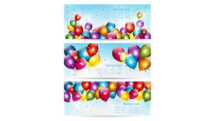 3 color balloon banner vector map
