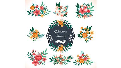 9 watercolor wedding flowers vector material