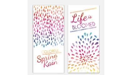 2 spring water color raindrops banner vector map
