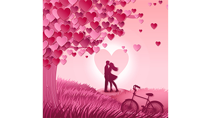 Love tree and lovers vector material