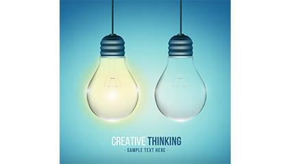 Innovative thinking light bulb design vector material