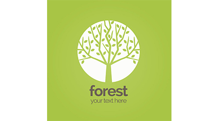Green trees signs vector material