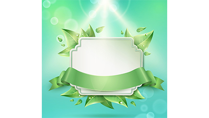 Vector map of green leaves and ribbons