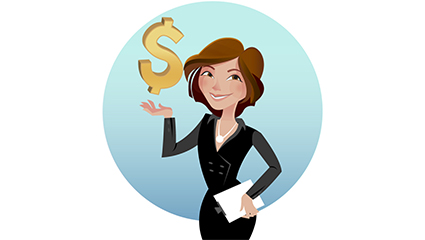 Commercial girl and currency symbol vector material