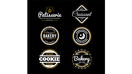 Link to9 bakery food label vector