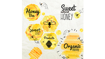 6 watercolor honey label vector map