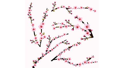 Link to5 pink cherry branch vector material