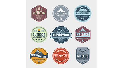Link to9 outdoor adventure tag vector material