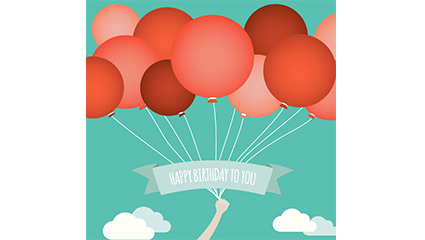 Link toRed balloon beam birthday card vector