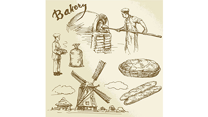 6 hand-drawn element vector material Bakery
