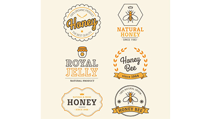 Link to6 creative honey label vector material