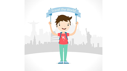 Link toThe boy held banners travel vector material