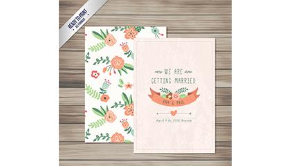 Cartoon flower wedding invitations vector