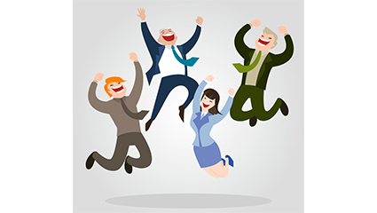 Link to4 business people jumping vector material cheers