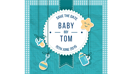 Link toInfants and blue welcome party poster vector