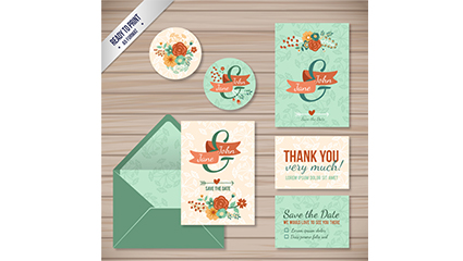 Link to6 flower wedding card vector material