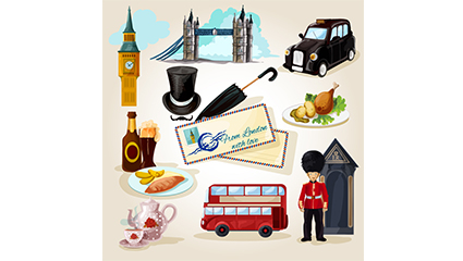 Link to12 water painting the british tourism element vector material