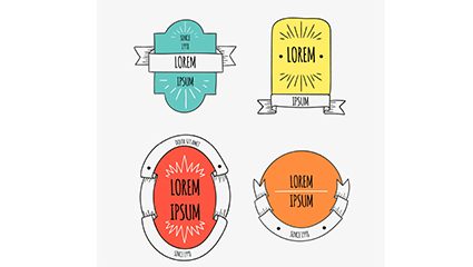 Link toThe 4 section of the hand drawn ribbon label vector map