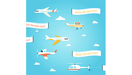 Link to5 pull banners aircraft design vector