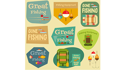 Link to9 vintage fishing label vector material