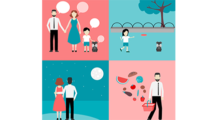 Link to4 family illustration vector material