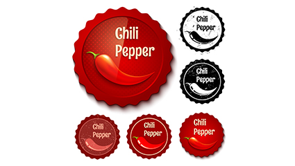 Link to6 retro label vector material chili