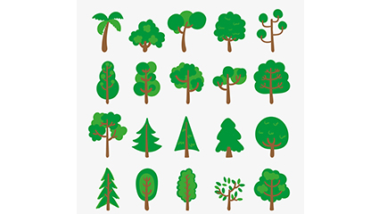 Link to20 models of green trees design vector material
